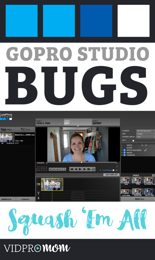 If you have problems with GoPro Studio, here are a few things you can do that will FOR SURE squash the bugs...