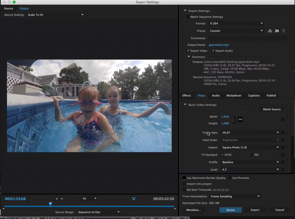 Export GoPro Videos in Premiere Pro