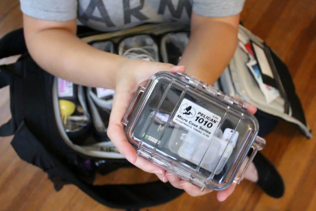I use a Pelican Case 1010 for my SD Cards - Backpack for GoPro Tenba Action Pack 14L