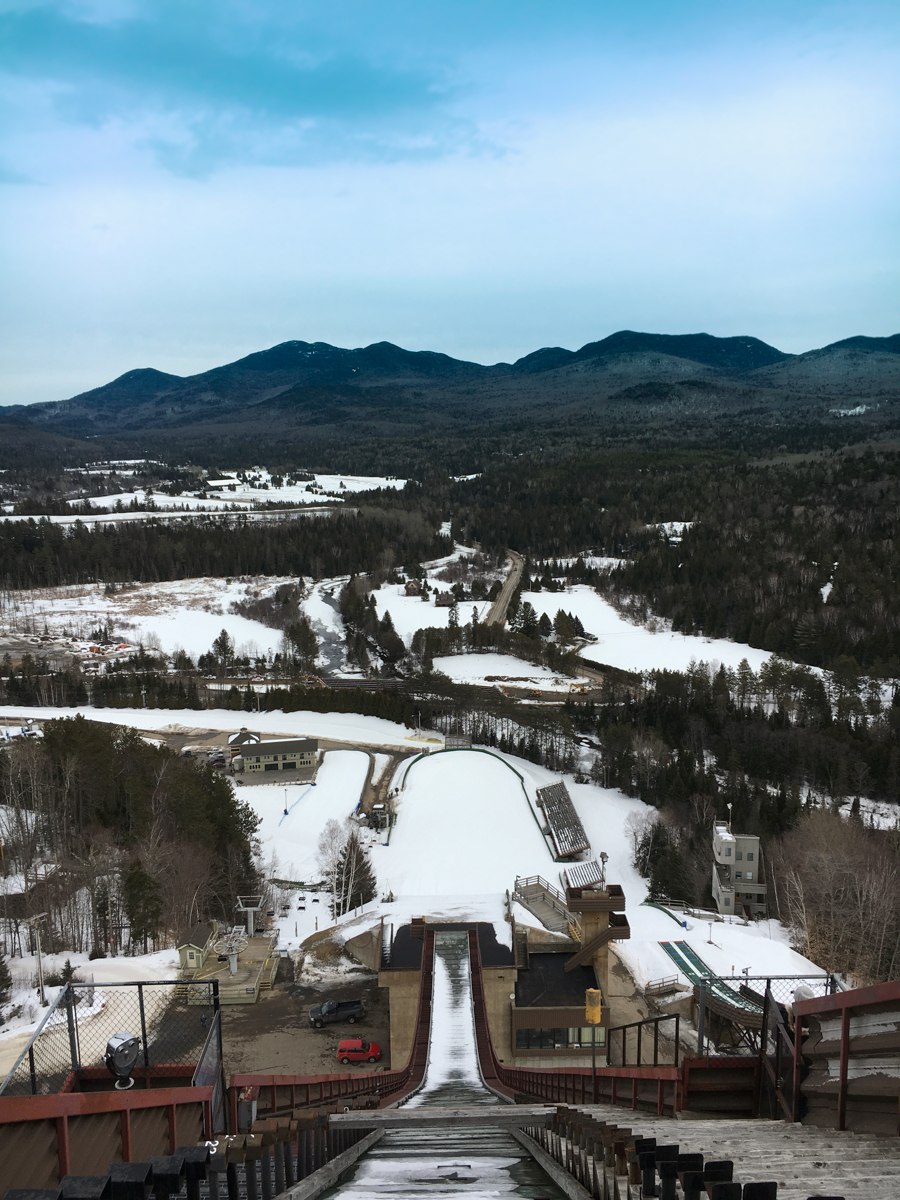 Looking down the jump from the Lake Placid Ski Jump