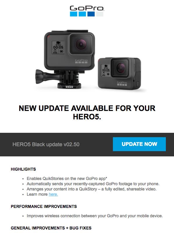 "Hero5 Black Update Email: GoPro releases new ""QuikStories"" function"