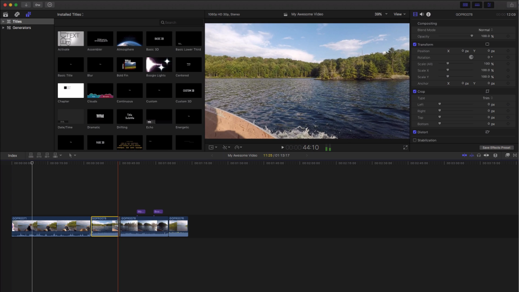 Final Cut Pro is great GoPro Editing Software – it's pretty advanced, and something you might want to graduate to!