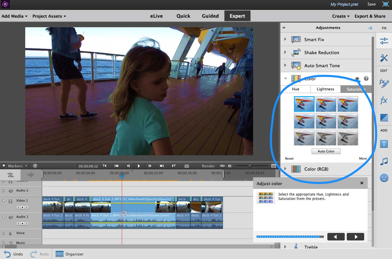 Color Correction In Premiere Elements Guided Edit