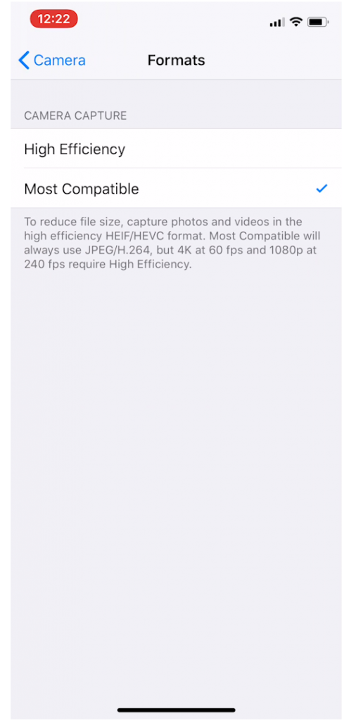 Iphone Video Settings High Efficiency Vs Most Compatible
