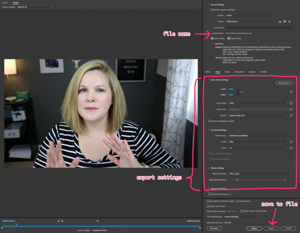 Export In Premiere Pro - How To Edit Videos for YouTube in Premiere Pro (premiere pro tutorial)