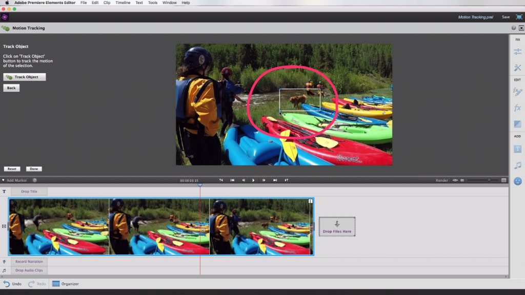 Motion Tracking In Adobe Premiere Elements – Select Object To Track