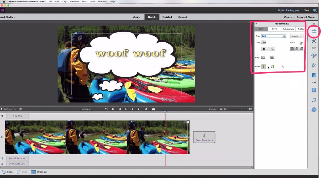 Motion Tracking In Adobe Premiere Elements Adjust Text Style