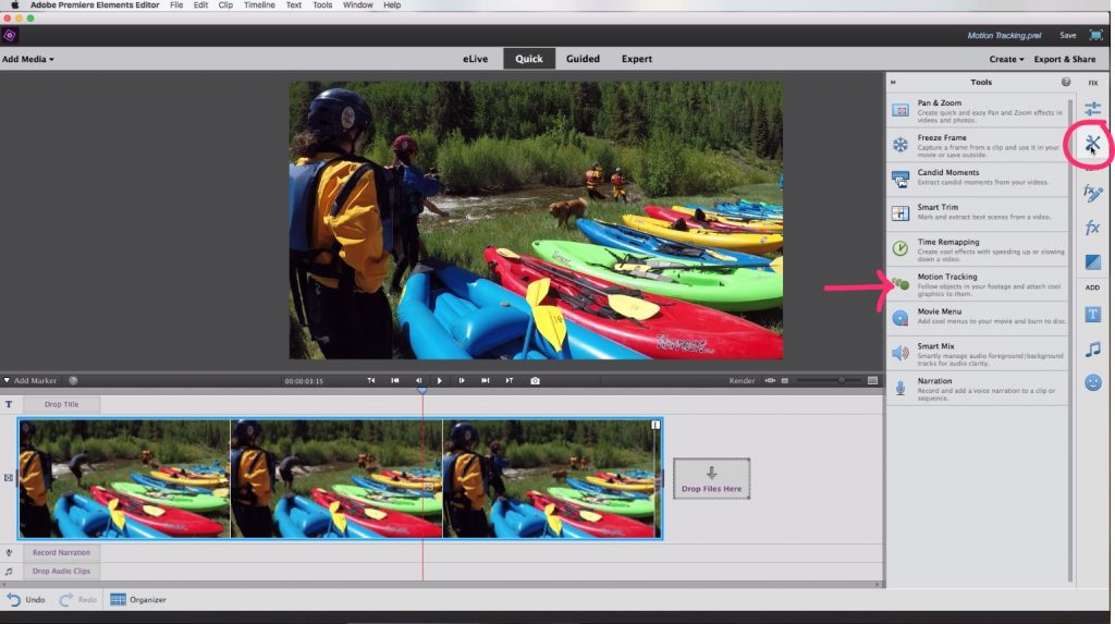 Motion Tracking In Adobe Premiere Elements Tools Menu