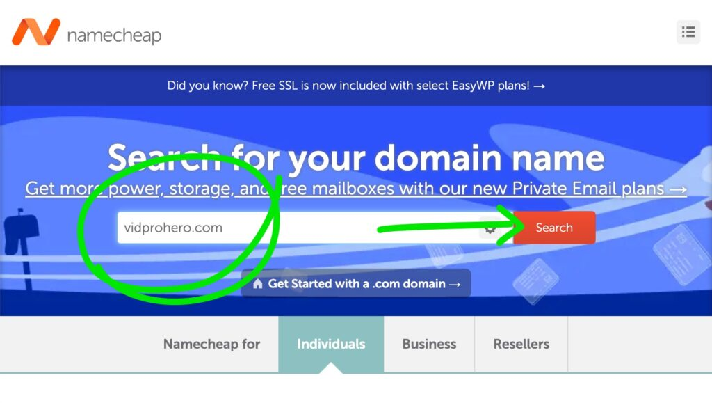Search for your desired domain name on namecheap.com to see if it's available