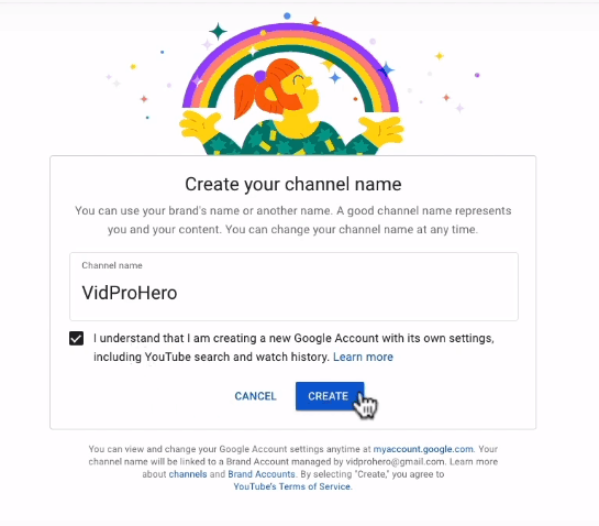 Creating your channel name