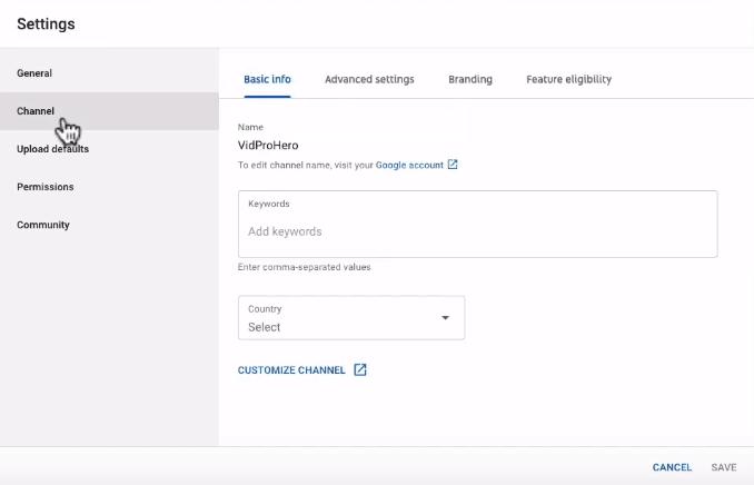 YouTube channel settings