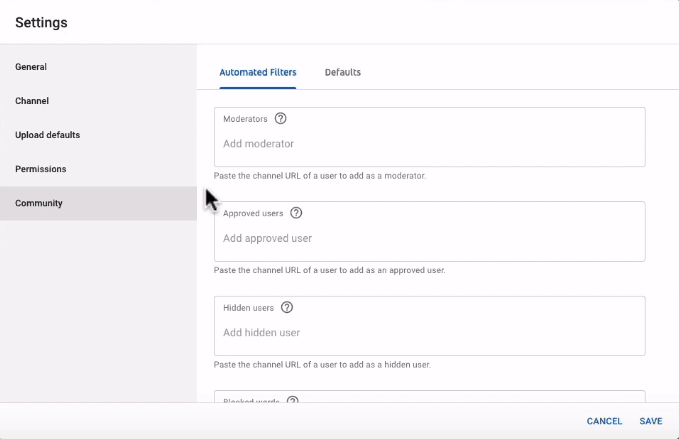 Community settings for your YouTube channel
