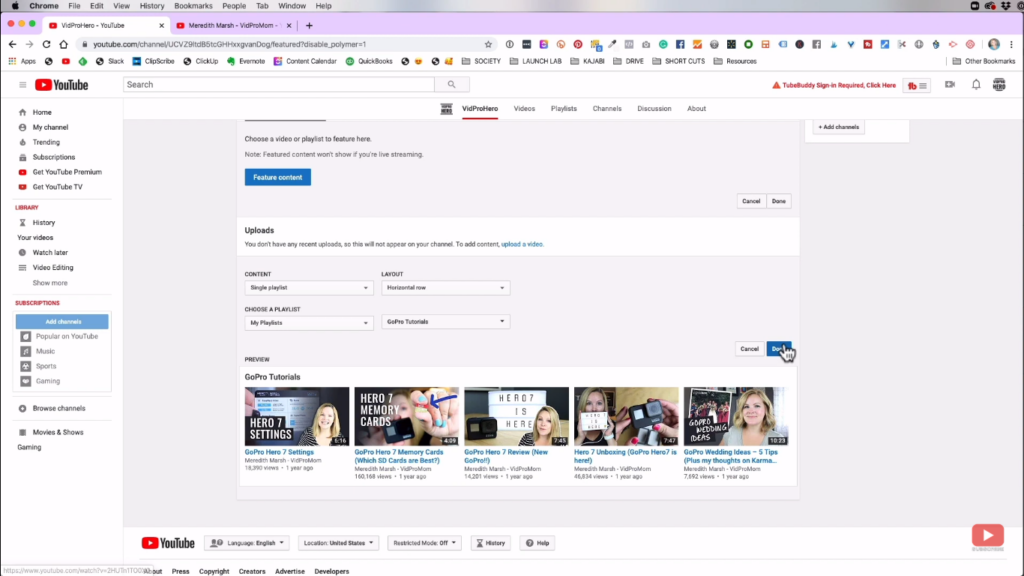 Featuring your created playlist on your channel's homepage