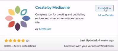 Installing Create by Mediavine plugin