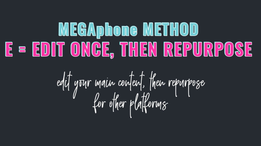 Grow Your Audience Fast using the MEGAphone Method - E = Edit One, then Repurpose