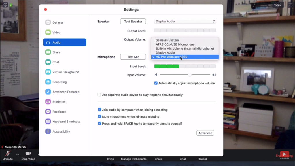Check Your Camera and Microphone Settings