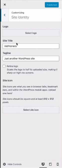Customizing your WordPress site identity