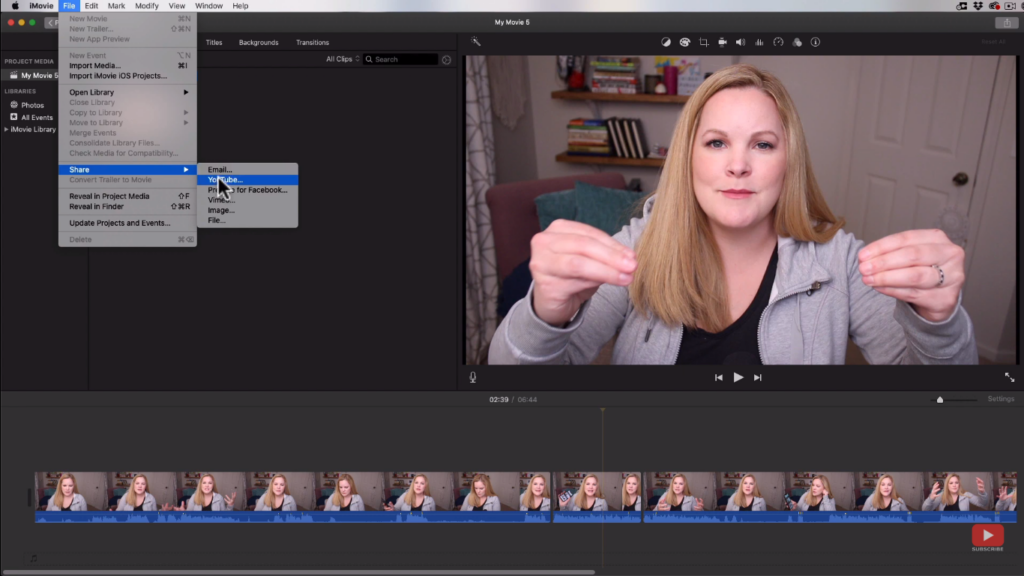 Exporting your video in iMovie