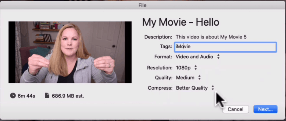Export settings in iMovie