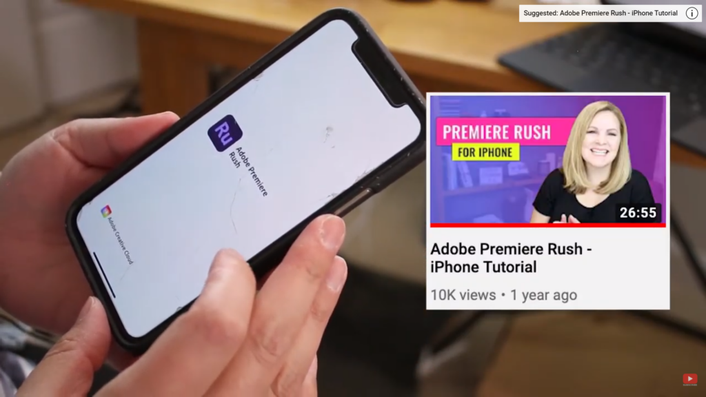 using Adobe Premiere Rush on iPhone