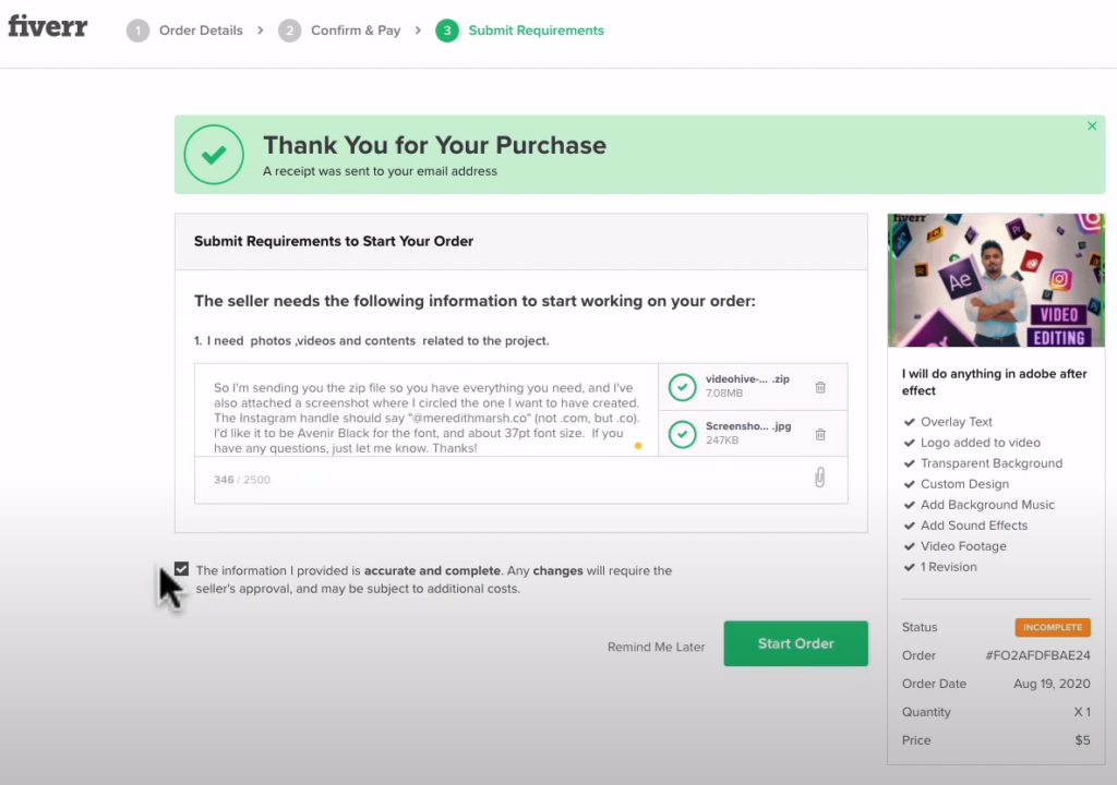contacting the seller and placing an order in fiverr