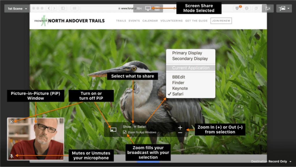 eCamm Live's main window and menus