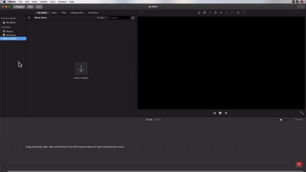 iMovie 2020 interface
