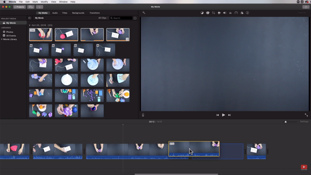 dragging clips on iMovie
