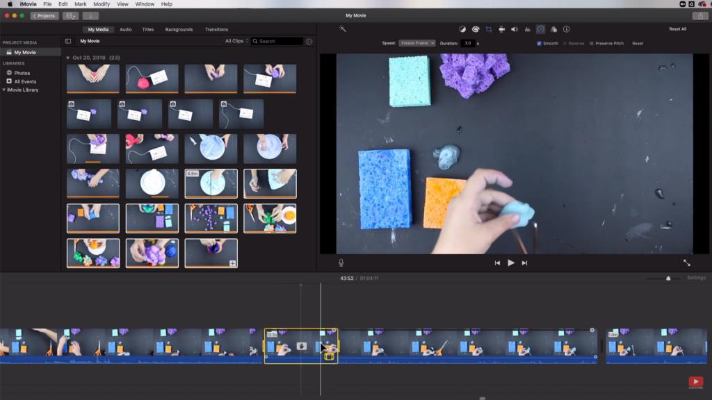 freeze-frame on iMovie
