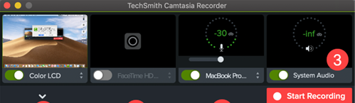 Camtasia recording for Mac