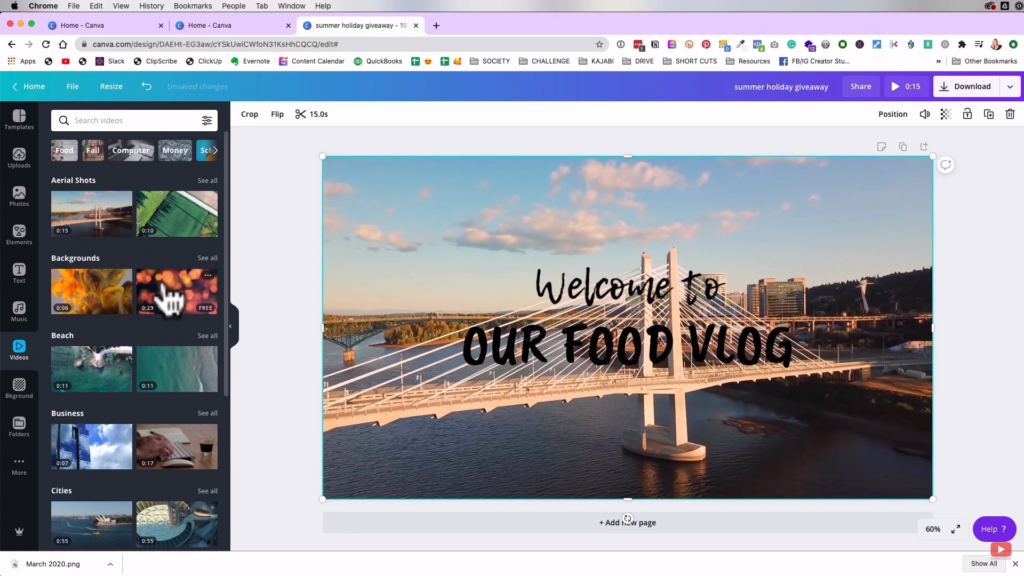 using animated backgrounds in Canva