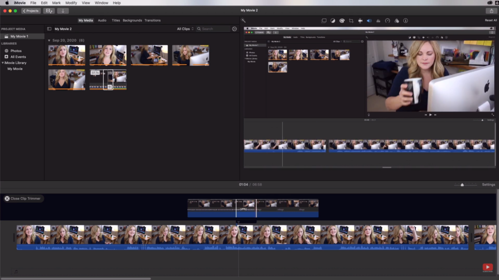 using iMovie clip trimmer tool