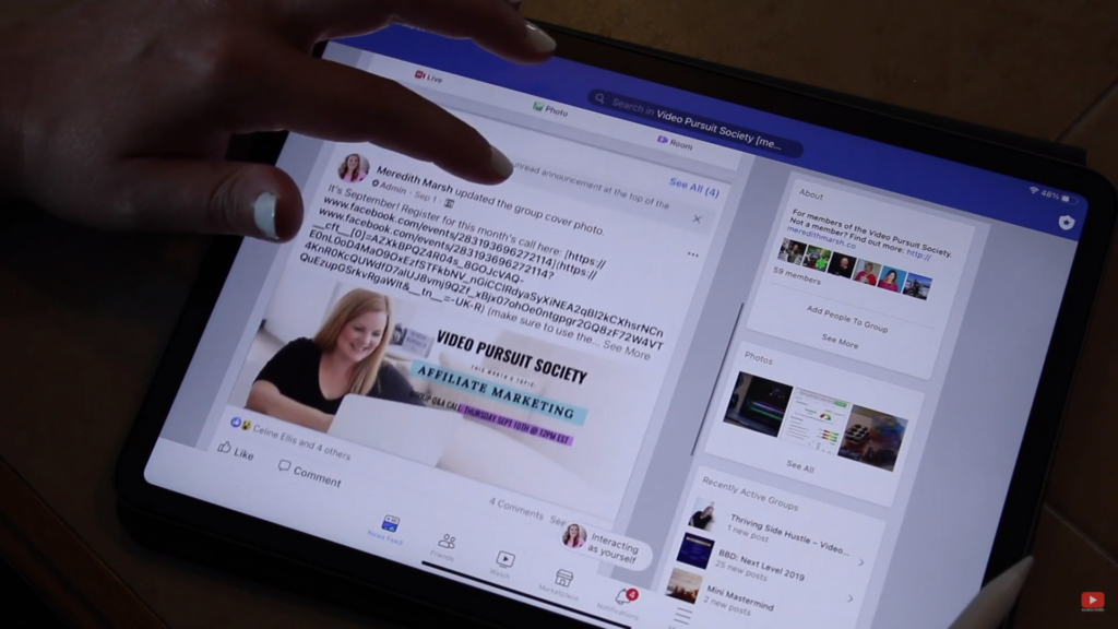 browsing Facebook in iPad Pro 2020