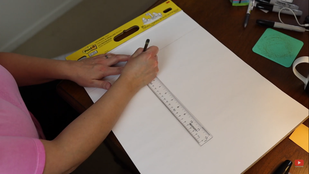 marking the measurements for the calendar wall