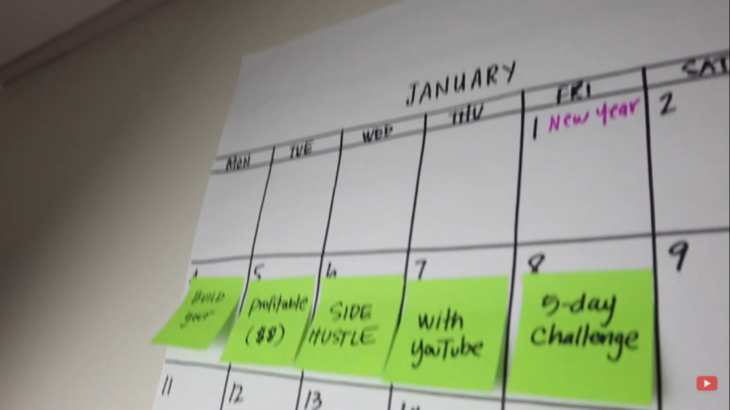 using sticky notes to place reminders on my calendar wall