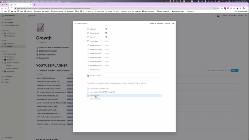 creating a page in notion