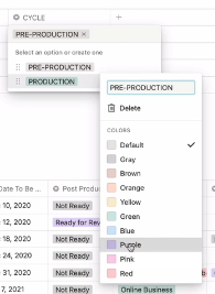 assigning colors for the different options