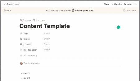 editing your template in notion