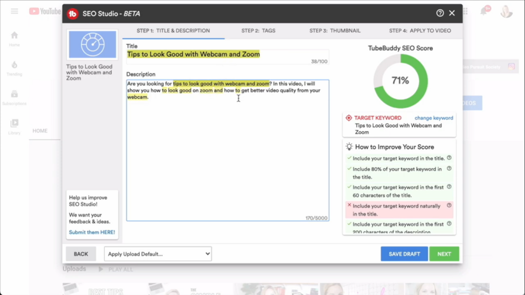 Optimizing YouTube video content title and description