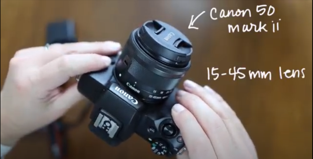 The Canon m50 Mark ii with the 15-45mm lens.