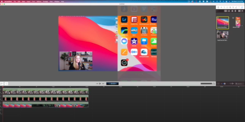 The ScreenFlow workspace has a preview window on the top, timeline on the bottom, and media bin on the right.