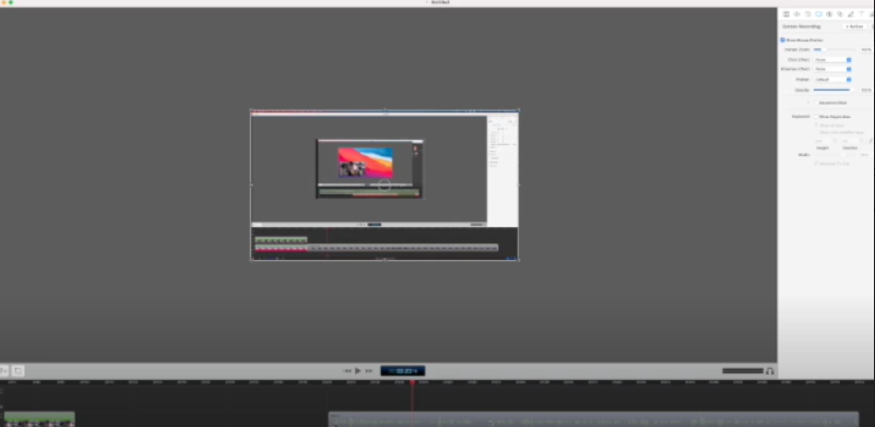Here is the screen recording section of the ScreenFlow Editor