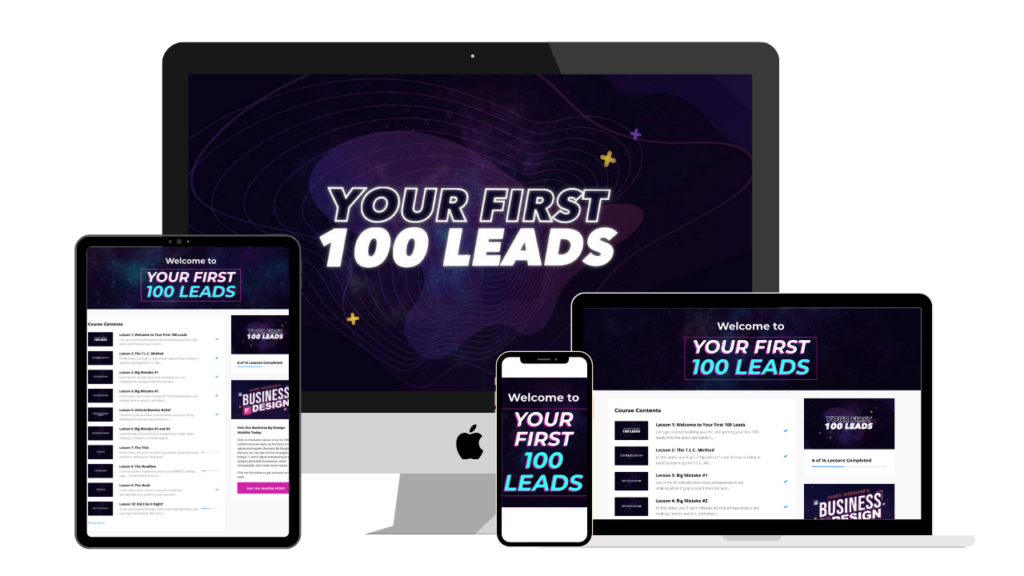 Your First 100 Leads graphics on an iPad, iPhone, Mac, and laptop.