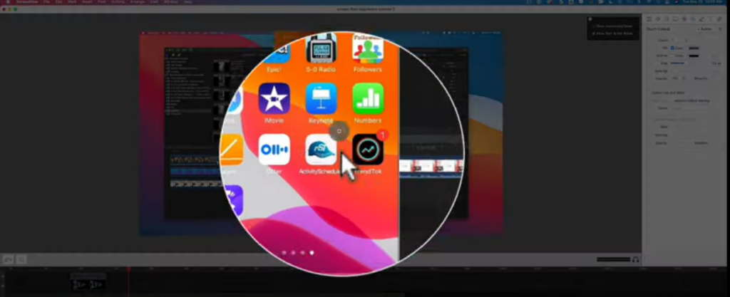 The gray circle on the iPhone recording is the touch callout.